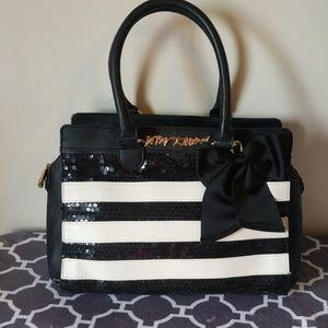 Betsey Johnson handbag sequin bow stripe